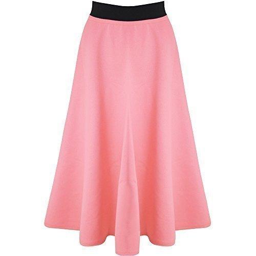 86062d83478 Be Jealous Women Long Skirt Mid Length Scuba Stretchy Flared Swing Skater  Midi New  Amazon.co.uk  Clothing