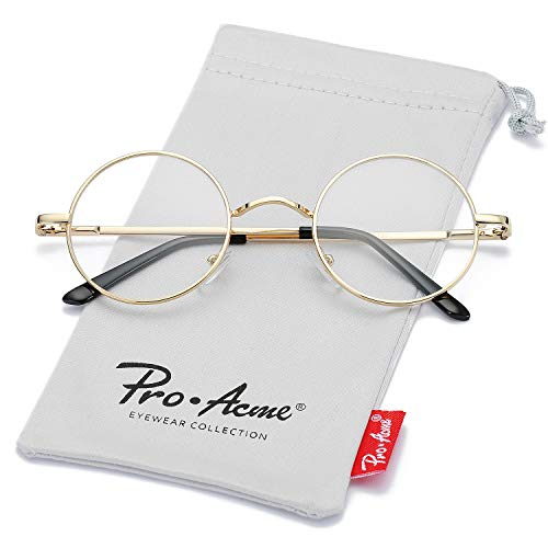 Pro Acme Non Prescription Clear Lens Glasses Retro Small Round Metal Frame (Gold)