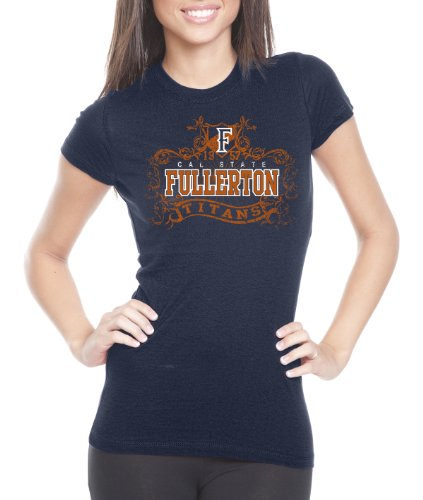 NCAA Cal State Fullerton Titans Women's Prius2 Long Body Classic T-Shirt (Navy, Large)