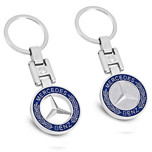 ROYAGO New Car Key Chains 3D Metal Emblem Pendant Car Logo Key Ring for BMW Mercedes Benz VW Audi (for Benz)