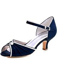 HP1623 Women's Sandals Peep Toe Mid Heel Pumps Pleated...