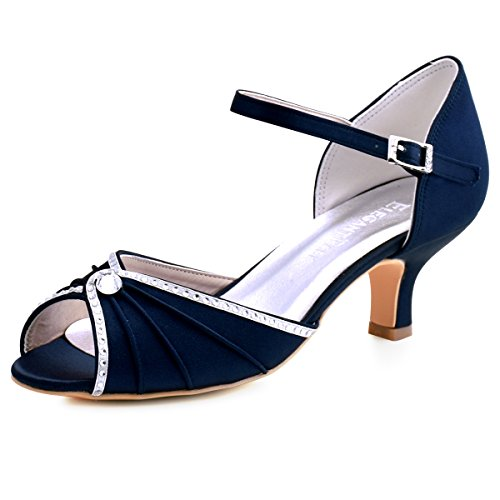 (ElegantPark HP1623 Women's Sandals Peep Toe Mid Heel Pumps Pleated Rhinestones Satin Evening Wedding Party Shoes Navy Blue US)