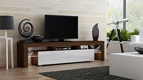 TV Stand MILANO 200 Walnut Line / Modern LED TV Cabinet / Living Room Furniture / Tv Cabinet fit for up to 90-inch TV screens / High Capacity Tv Console for Modern Living Room (Walnut & White)