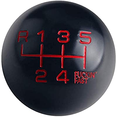 DEWHEL Black/Red Aluminum Fing Fast Shift Knob 6 Speed Short Throw Shifter M10X1.5 M12X1.25 M10X1.25 M8X1.25 Adapter Thread (Reverse on Top Left): Automotive