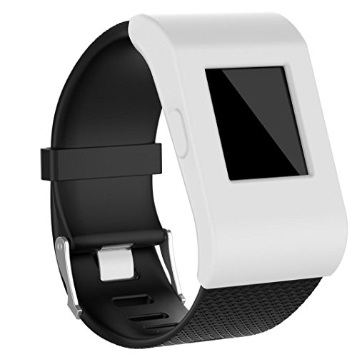 Kanzd Luxury Silicone Slim Designer Sleeve Case Band Cover For Fitbit Surge (White) ()