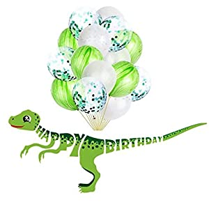 Dinosaur Happy Birthday Banner – Dinosaur Party Supplies favors Decorations and 15 pack of Green balloons