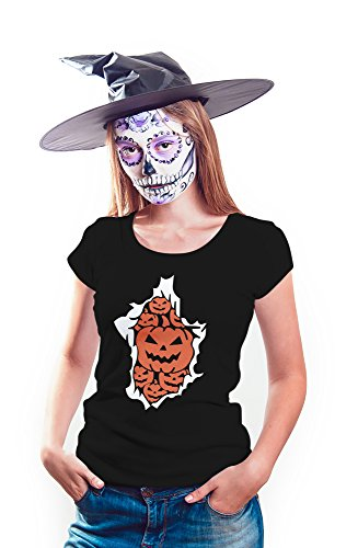 Womens Scarcecrow Pumpkin Halloween T-Shirt | Black, S