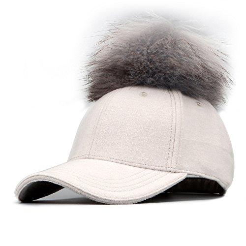 FURTALK Adjustable Large Real Fur Pom Pom Baseball Cap Snapback Wool Hat (white/grey)