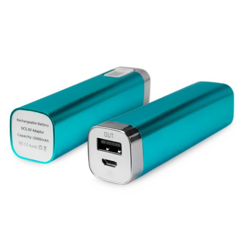 BoxWave Rejuva Power Pack BLU Studio 5.0 CE Power Bank - Universal, Portable 2600 mAh Rechargeable Li-ion BLU Studio 5.0 CE Battery Charger/Power Bank with Backlit Digital LED Power Display and Built In High Output USB Ports (Sky Blue)