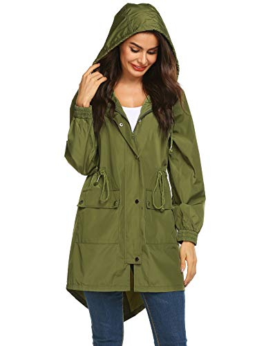 LOMON Womens Lightweight Hooded Raincoat Waterproof Packable Active Outdoor Rain Jacket (Type B Amry Green M) ()