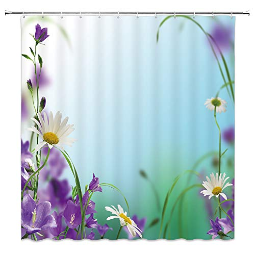 AMNYSF Purple Flower Shower Curtain White Daisy Green Leaves Wildflowers Spring Scenic Decor Fabric Bathroom Curtains,70x70 Inch Waterproof Polyester with Hooks