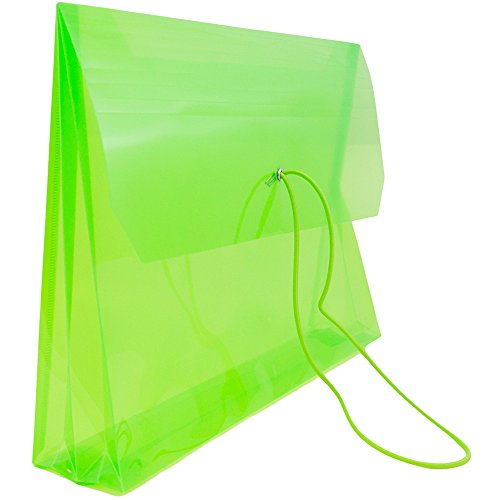 JAM PAPER Plastic Expansion Envelopes with Elastic Band Closure - Letter Booklet - 9 3/4 x 13 with 2.5 Inch Expansion - Lime Green - Sold Individually by JAM Paper (Image #3)