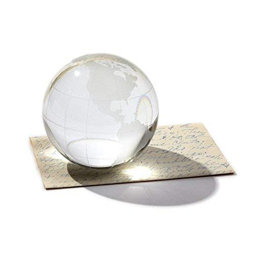 Hand-Etched Glass Design Twos Company World View Etched Globe Paperweight