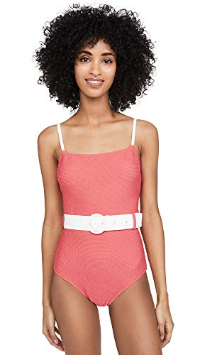 Solid & Striped Women's The Nina Belted One Piece, Coral Squiggle, Small