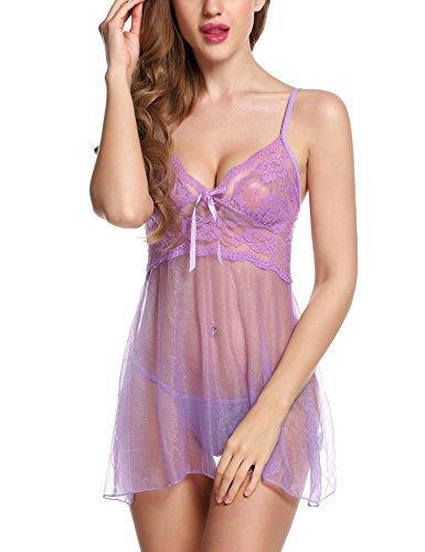 Avidlove Women Mini V Babydoll Set Mesh Lace Lingerie Sexy Sleepwear Underwear Purple X-Large
