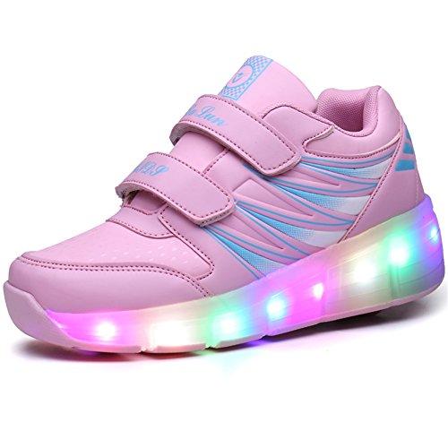 Ufatansy Uforme Kids Wheelies Lightweight Fashion Sneakers LED Light Up Shoes Single Wheel Double Wheels Roller Skate Shoes (4.5 M US =CN37, Pink/Single Wheel)