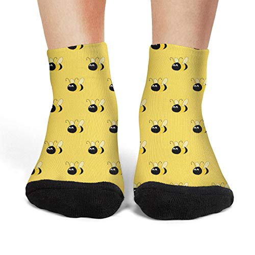 Landsr Women's Yellow Bees Repeat Casual Athletic Novelty Ankle Crew -