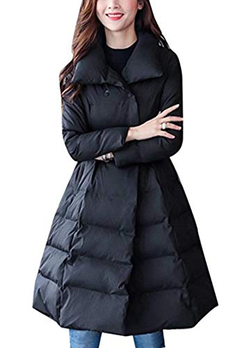 Special Long Sleeve Lapel Down Coat with Trench Winter Style Warm Coats Side Women Pockets Fashion Color Schwarz Parka Belt Long Jacket Solid nnqxOw68B