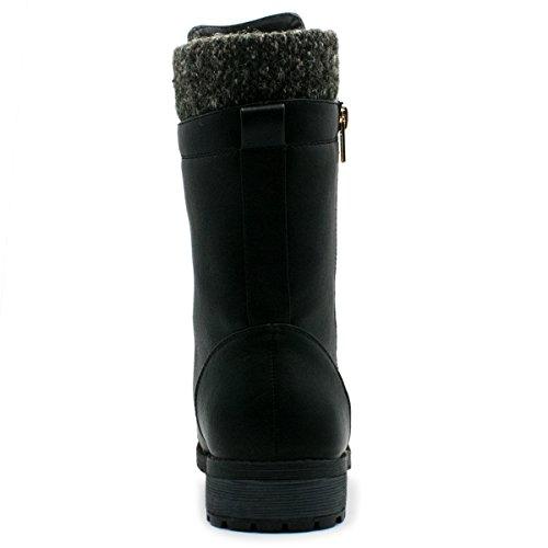 Forever Link Womens Mango-31 Runde Zehe Military Lace Up Knit Knöchel Manschette Low Heel Combat Boots Premier Schwarz