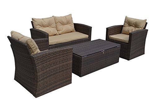 Wholesale Interiors Baxton Studio Imperia Modern and Contemporary PE Rattan 4 Piece Outdoor Loveseat and Chairs Seating Cushions with Coffee Table Patio Set, Large, (Wholesale Interiors Glass Coffee Table)