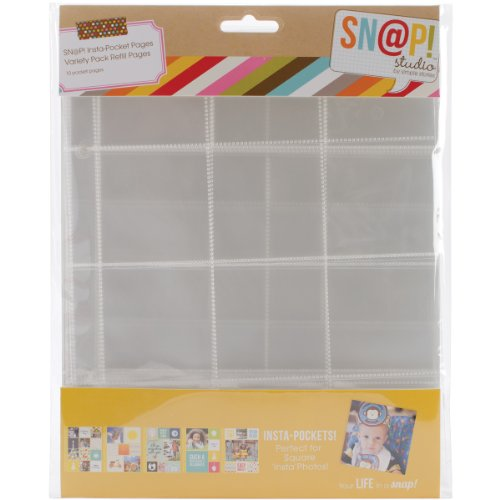 (Simple Stories SNAP4074 Snatp! Insta Pocket Pages for 6 by 8-Inch Binders Variety Pack, 10-Pack)