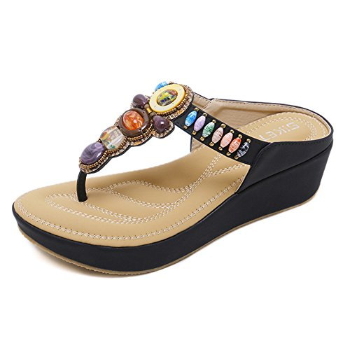 f2d38f272 Navoku Womens Leather Thong Sandals Jeweled Platform Sandles Black 42 10 D(M)  US