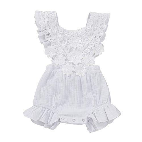 Baby Romper Girl Infant Newborn Romper for Girls Ruffles Lace Floral Collar Rompers Bodysuits Princess Clothes Cute Girl Outfits Summer 3-6 Months White