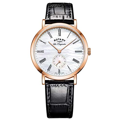Rotary Womens Analogue Classic Quartz Watch with Leather Strap