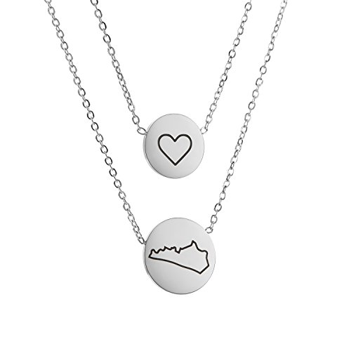 State Pendant Necklace Kentucky KY - Heart Disc Double Chain Stainless Steel
