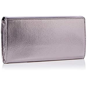 Dorothy Perkins Womens Metal Bar Clutch Bag Clutch Grey (Pewter),5×14.5×29 cm (W x H x L)