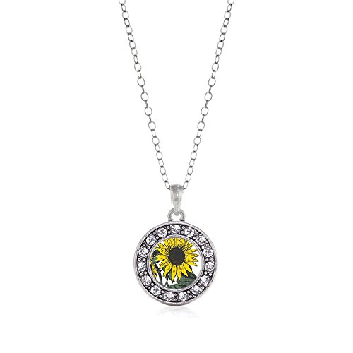 Inspired Silver Sunflower Circle Charm Necklace Clear Crystal Rhinestones