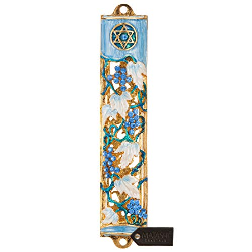 Matashi Hand Painted Blue and Ivory Enamel Grape Mezuzah Embellished with Gold Accents and Crystals Home Door Wall Decor Housewarming Present Gift for Festival (6 inch)