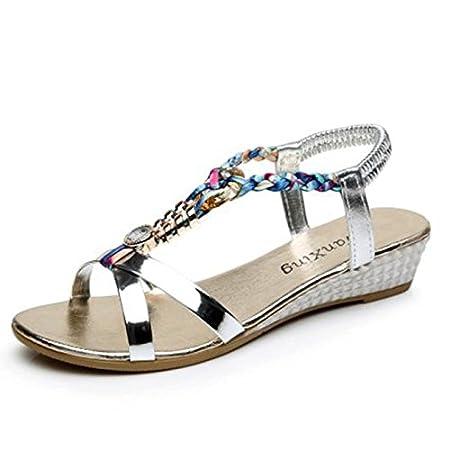 Sandalias mujer, Manadlian Moda Sandalias casuales Sandalias planas de mujer de verano Zapatos de playa (CN 38, Oro) Manadlian_Sandalias mujer