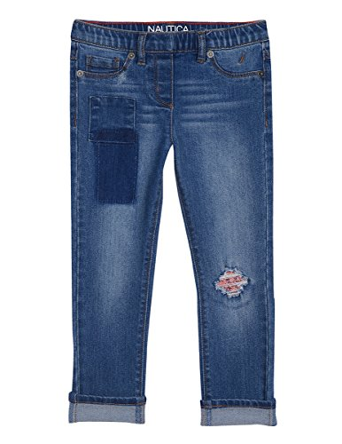 Nautica Big Girls' Girlfriend Denim with Patches and Sequins, Vintage Blue, Small (7) by Nautica