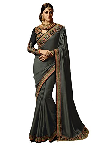 Dilse Fashion Embroidered Heavy Designer Paper Silk Saree (Black) (Designer Saree Black)