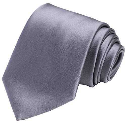 KissTies Boys' Tie Gray Satin Necktie For Kids Boys Ties + Gift ()