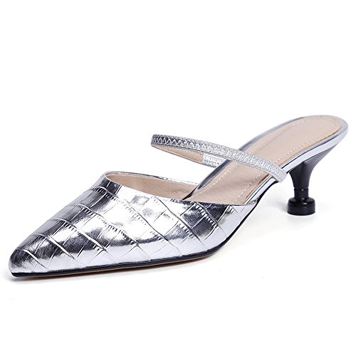 Nine Seven Cuero Moda Puntiagudos Zapatos de Tacón de Aguja con de Vestir para Mujer plateado