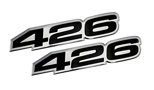 2x (pair/set) VMS Racing 426 BLACK on SILVER Highly Polished Aluminum EMBLEMS