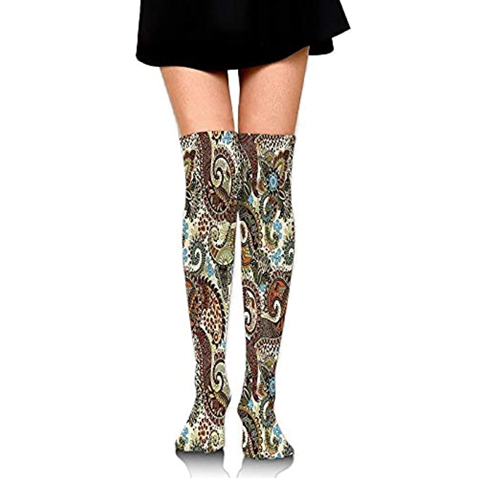 d8d26cd1b 60cm And High The Women s Ivy Indian Flower Oriental Socks Classic Striped  Knee With Over Design