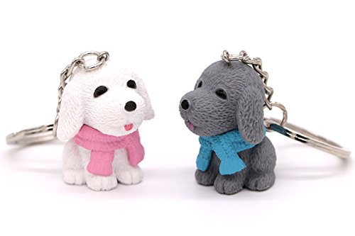 AVEC JOIE Labrador Retriever Dog Keychain for Women Couple key Chain charms with Leather Key Ring Strap 3D Animal Pendant Car Circle Key Rings Purse Bag Handbag Pendant Pack of 2