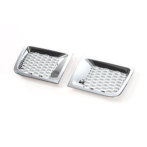 KUJOOY ABS Front Bumper Air Intakes Duct Vent Bezel Cover Trim for Jeep Renegade 1.4T 2015 2016 2017 2018 (with Grid, Chrome Silver)