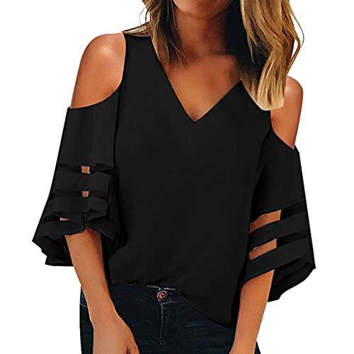 NRUTUP Women Button V Neck Loose Top Mesh Panel Blouse 3/4 Bell Sleeve Shirt Shoulder Blouse (Black,L)