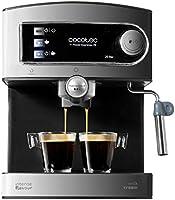 Cecotec Power Espresso Cafetera presión 20 Bares, Inoxidable, depósito 1,5 litros, Color Acero y Negro, 850 W, 0 Decibeles [Clase de eficiencia energética A]