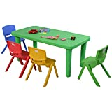 Costzon New Kids Plastic Table and 4 Chairs Set Colorful Play School Home Fun Furniture