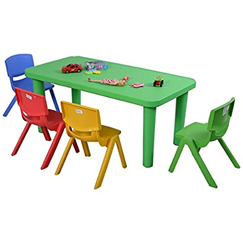Costzon New Kids Plastic Table and 4 Chairs Set Colorful Play School Home Fun Furniture (Plastic Chairs Set Of 4)