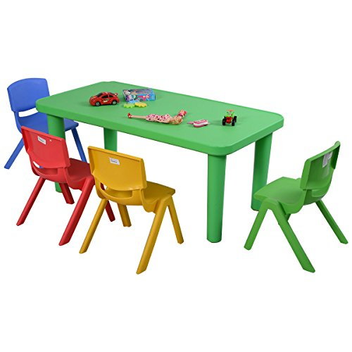 Costzon New Kids Plastic Table and 4 Chairs Set Colorful Play School Home Fun Furniture by Costzon
