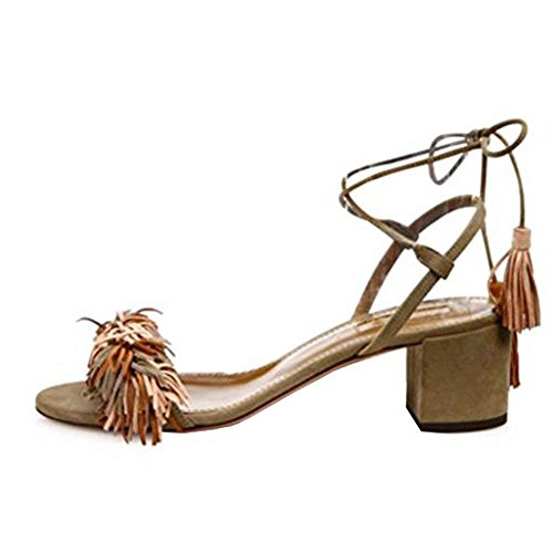 - Comfity Block Heels for Women Women's Lace Up Sandals Fringed Tassel Shoes Ankle Ties Dress Sandals 10 M US Light Brown