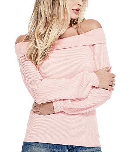 GUESS Women's Ribbed Off-The-Shoulder Sweater (Evening Sand Multi, Large) ()
