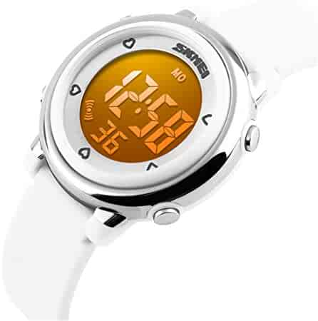 Child Watch Sport 30M Waterproof LED Alarm Stopwatch Digital Kid Wristwatch for Boy Girl White