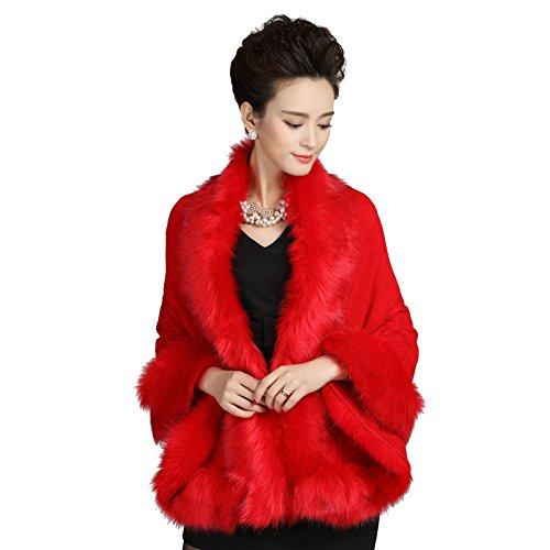 Elfjoy Luxury Bridal Faux Fur Cashmere Wool Shawl Cloak Cape Wedding Dress Party Coat for Winter - Fur Cashmere Coat Trim